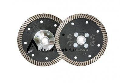 Алмазный диск турбо черный с фланцем Ø 125хМ14