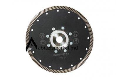 Алмазный диск турбо черный с фланцем Ø 230х22