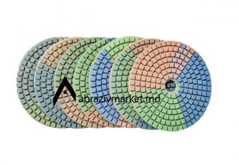 Алмазный шлифовальный круг велкро Ø 100 (с водой) триколор А